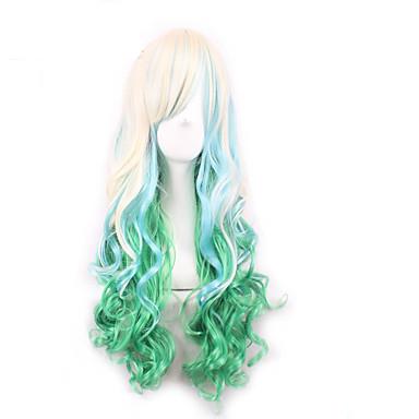 Kvinder Syntetiske parykker Lågløs Naturligt, bølget hår Blond Grøn Blå Lys pink Lyseblå Ombre-hår Cosplay Paryk kostume Parykker