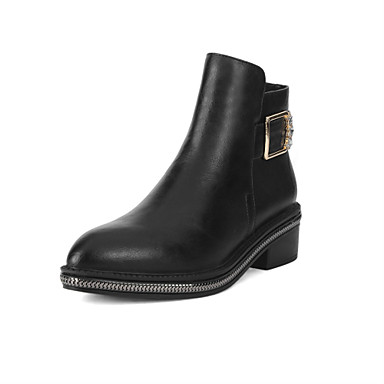 Damen-Stiefel-Outddor / Kleid / Lässig-Kunstleder-Blockabsatz-Spitzschuh / Modische Stiefel-Schwarz / Khaki