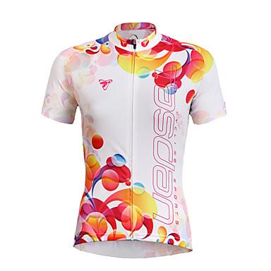 TASDAN Pyöräily jersey Naisten Lyhyt hiha Pyörä Jersey Topit Nopea kuivuminen Ultraviolettisäteilyn kestävä Hengittävä Hikeä siirtävä100%