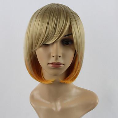Vrouw Synthetische pruiken Recht Blond Natuurlijke pruik Kostuumpruiken