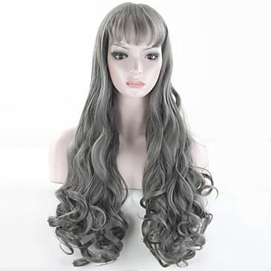 hohe Qualität graue Perücke langen grauen lockigen Perücken synthetische vordere Perücke hitzebeständig billig Perücken Cosplay Frauen