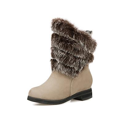 Støvler-Kunstlæder-Snowboots Modestøvler-Dame-Sort Brun Rød Beige-Udendørs Kontor Fritid-Tyk hæl