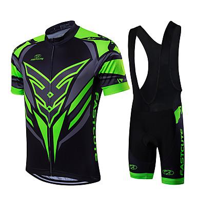 Fastcute Herrn Kurzarm Fahrradtrikot mit Trägerhosen - Grün/schwarz Fahhrad Kleidungs-Sets, Rasche Trocknung, Atmungsaktiv,