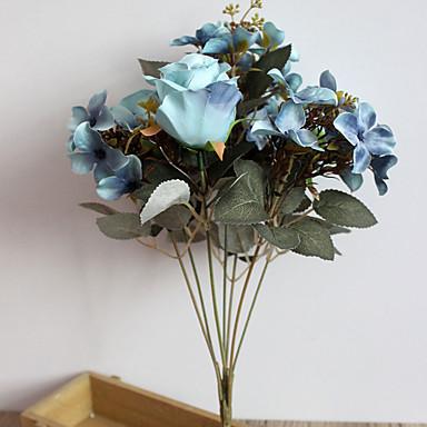 1 Gren Polyester Plastikk Roser Bordblomst Kunstige blomster