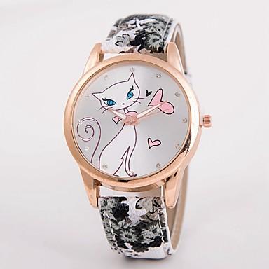 Dames Modieus horloge Gesimuleerd Diamant Horloge Kwarts / Leer Band Vrijetijdsschoenen Meerkleurig Zwart Geel Rood Blauw Roze