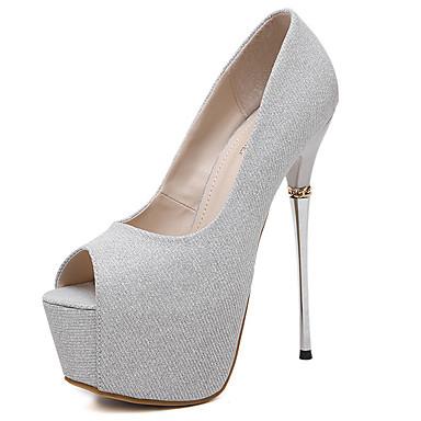 Sandaalit-Piikkikorko-Naisten-Glitter-Musta / Hopea-Rento-Avokärkiset / Sandaalit