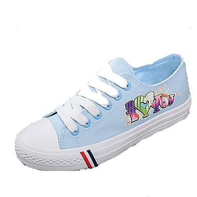 Sneakers-Denim-Komfort-Dame-Blå / Hvid-Udendørs / Sport-Flad hæl