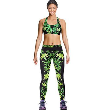 Dame Ermeløs Løp Kompressjonsklær Leggings Fort Tørring Pustende Komprimering Sommer Drakter Yoga & Danse Sko Trening & Fitness Løp
