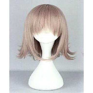 Kvinder Syntetiske parykker Lokkløs Rett Blond Bobfrisyre Med lugg Naturlig parykk costume Parykker