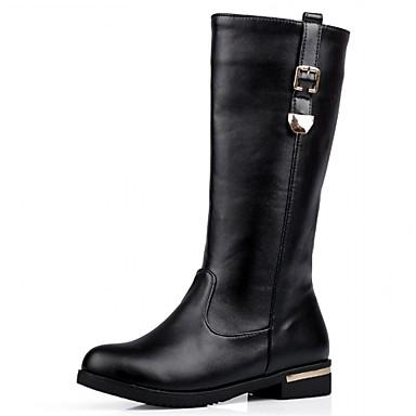 Feminino-Tênis-Botas de Cowboy Botas de Neve Botas Montaria Botas da Moda-Salto Baixo-Preto Vermelho Branco-Sintético Couro Envernizado