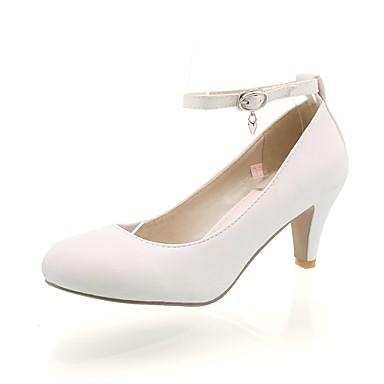 Dame-Kunstlær-Konisk hæl-Komfort-Høye hæler-Bryllup Formell-Svart Rosa Hvit Beige