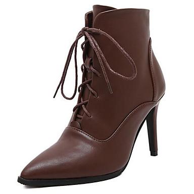 Støvler-Kunstlæder-Ridestøvler-Dame-Sort Brun-Udendørs Fritid-Stilethæl