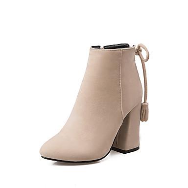 Støvler-Kunstlæder-Hæle / Ankelstøvler / Modestøvler-Dame-Sort / Grå / Beige-Udendørs / Kontor / Hverdag-Tyk hæl