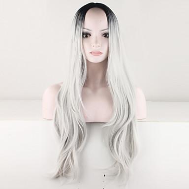Pelucas sintéticas Rizado Pelo sintético Pelo Ombre / Raíces oscuras / Raya en medio Gris Peluca Mujer Larga Sin Tapa Gris
