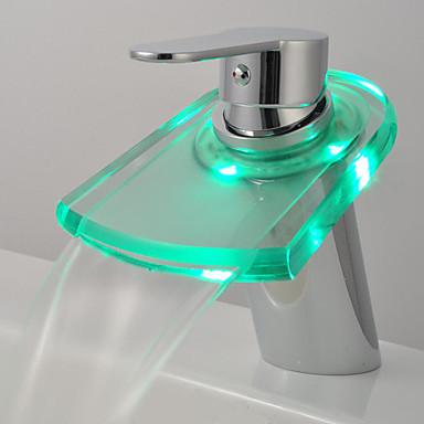 Moderna Pia Cascata Toque/ Sem Toque LED Vãlvula Latão Monocomando Dois Buracos Cromado , Torneira de Banheira Torneira de Cozinha