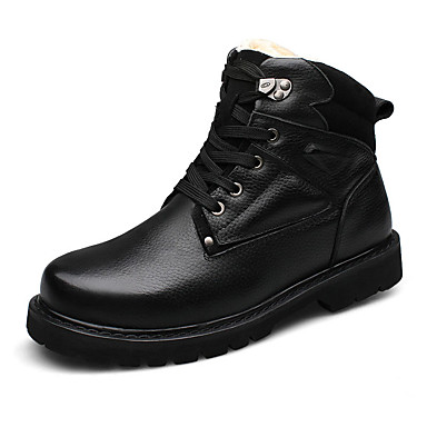 Herre-Lær-Flat hæl-Komfort-Støvler-Friluft Fritid-Svart Kaki