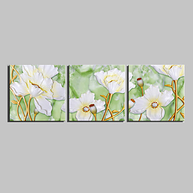 Aufgespannte Leinwandrucke Botanisch Drei Paneele Quadratisch Druck Wand Dekoration Haus Dekoration