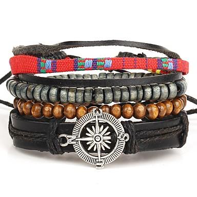Heren Leder Lederen armbanden Wikkelarmbanden - Gepersonaliseerde Bohémien Meerlaags Rond Sieraden Bruin Armbanden Voor Dagelijks Causaal