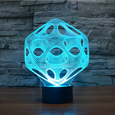 abstract aanraking dimmen 3D LED 's nachts licht 7colorful decoratie sfeer lamp nieuwigheid verlichting kerstverlichting