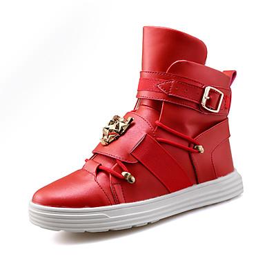 Sneakers-Mikrofiber-Komfort-Herre-Sort Rød Hvid-Fritid Fest/aften-Flad hæl