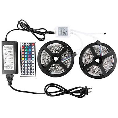 abordables Bandes Lumineuses LED-kwb led bande de lumières kit smd non imperméable 5050 300leds rgb 32.8 ft (10m) avec contrôleur ir clé et alimentation