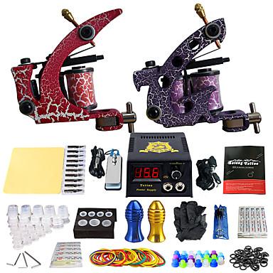Dövme Makinesi Profesyonel Dövme Seti - 2 pcs Dövme Makineleri, Profesyonel LCD güç kaynağı No case 2 x Çizgi ve gölgelendirme için