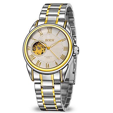 Herren Mechanische Uhr Automatikaufzug Transparentes Ziffernblatt Edelstahl Band Bequem Silber Marke