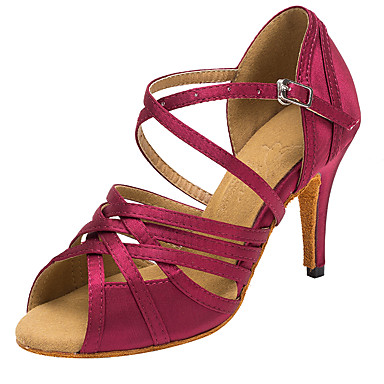 Damen Schuhe für den lateinamerikanischen Tanz / Salsa Tanzschuhe Satin Sandalen / Absätze Schnalle / Ausgehöhlt Maßgefertigter Absatz Maßfertigung Tanzschuhe Purpur / Blau / Innen / Professionell