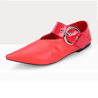 Tasapohjakengät-Tasapohja-Naisten-Lampaannahka-Punainen-Toimisto Puku Rento-Comfort