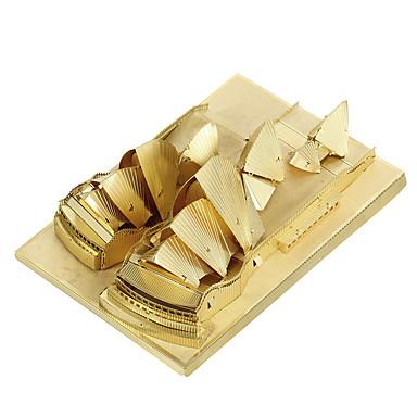 voordelige 3D-puzzels-Aipin Metalen puzzels Modelbouwsets Beroemd gebouw Sydney Opera House Noviteit Metallic Jongens Meisjes Speeltjes Geschenk