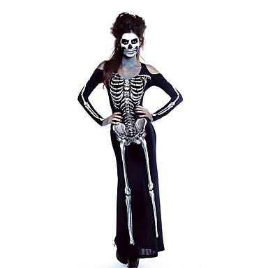 Ghostly Bride Cosplay Kostumer Festkostume Dame Halloween Karneval Oktoberfest Festival / Højtider Halloween Kostumer Sort med Hvid