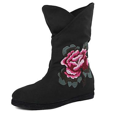 Dame Sko Stof Forår Efterår Vinter Modestøvler Komfort Støvler Gang Flade hæle Blomst for udendørs Sort Rød Blå