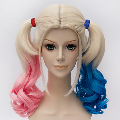 suicide squads harleen quinzel little ugly halle kuiyin modelling gradient cosplay wig Halloween