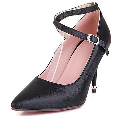 Damen Schuhe PU Frühling Sommer Herbst High Heels Walking Stöckelabsatz Mit Schnalle Für Normal Kleid Party & Festivität Schwarz Silber