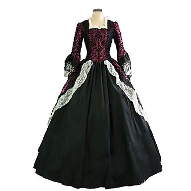 Gotisk Lolita Steampunk® Victoriansk Blonde Satin Dame Kjoler Cosplay Langærmet Lang Længde