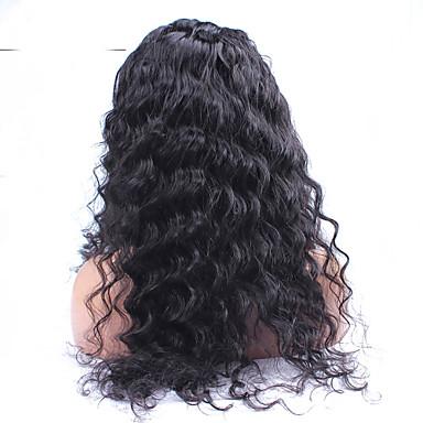 Aidot hiukset Lace Peruukki Löysät aaltoilevat Lace Front Liimaton puoliverkko 100% käsinsidottu Afro-amerikkalainen peruukki