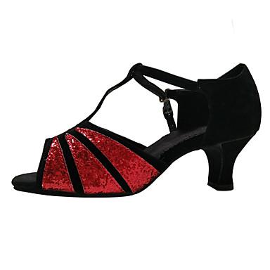 Damen Latin Glitzer Paillette Samt Kunststoff Sandalen Sneaker Absätze Innen Paillette Applikationen Glitter Ausgehöhlt Gerafft Rüschen