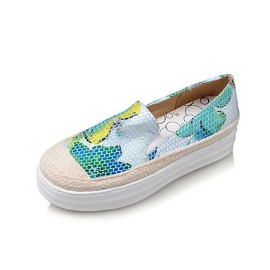 Dame-Fleece-Flat hæl-Lukket tå / Komfort / Rund tå-Flate sko-Kontor og arbeid / Fritid-Blå / Grønn / Rosa
