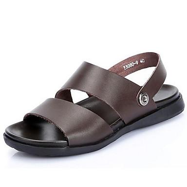 Masculino sapatos Pele Verão Sandálias Caminhada Para Casual Preto Marron
