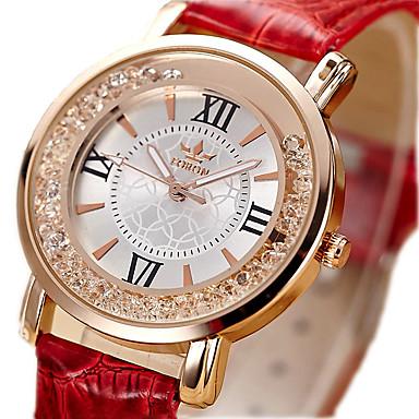 Dame Modeur Ur m. flydende krystal Quartz / Imiteret Diamant PU Bånd Vintage Sort Hvid Rød Pink