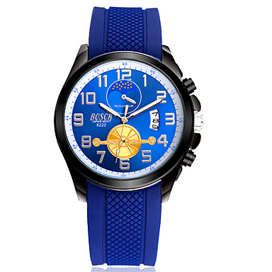 Hombre Reloj de Moda Calendario / Resistente al Agua Caucho Banda Casual Azul / Acero Inoxidable