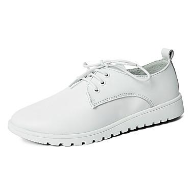 Naiset Oxford-kengät Comfort Tekonahka Kevät Kesä Kausaliteetti Kävely Comfort Solmittavat Tasapohja Valkoinen Musta Tasapohja