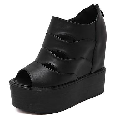 Sandaalit-Kiilakorko-Naisten-PU-Musta / Valkoinen-Rento-Avokärkiset / Sandaalit