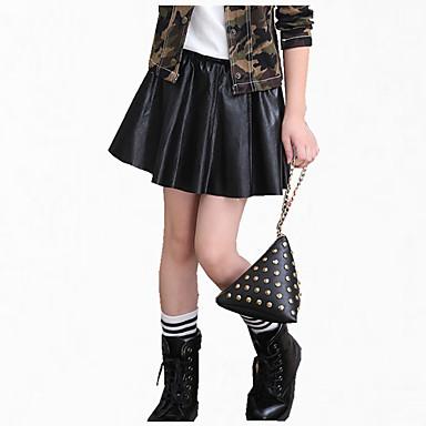 رخيصةأون بنطلونات و ليغنغ البنات-تنورة PU كم طويل لون سادة فستان للفتيات أطفال