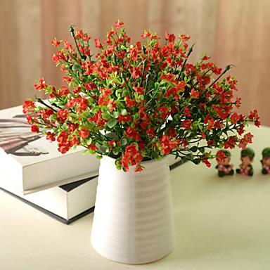 1pc 1 Branch Polyester / Plastikk Lyseblå Bordblomst Kunstige blomster 12.5inch/32CM