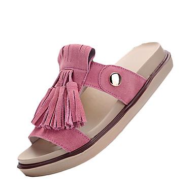Damer Sandaler Syntetisk Sommer Afslappet Kvast Flad hæl Beige Brun Lys pink Flad