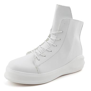 Homens sapatos Couro Ecológico Inverno Outono Conforto Creepers Botas Caminhada Cadarço para Casual Ao ar livre Branco Preto