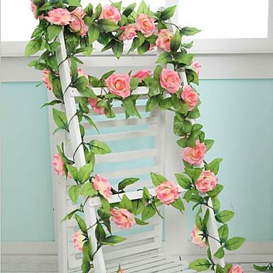 1 Ast Polyester Kunststoff Rosen Wand-Blumen Künstliche Blumen