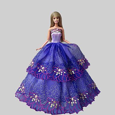 Party/Abends Kleider Für Barbie-Puppe Spitze Satin Kleid Für Mädchen Puppe Spielzeug