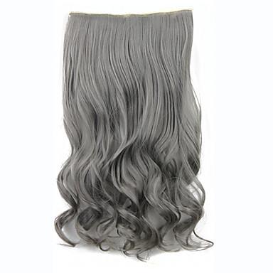 geschweiften wellig synthetische Clip in Haarverlängerungen 60cm 120grams gary hitzebeständige Faser 5clips Clip auf Haarteil